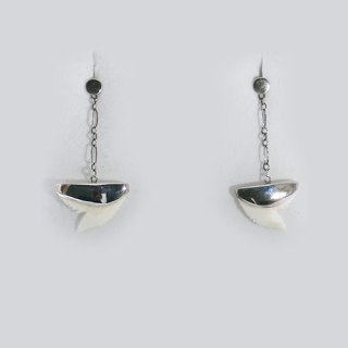 SHARK TOOTH DROP CHAIN EARRING STERLING SILVER