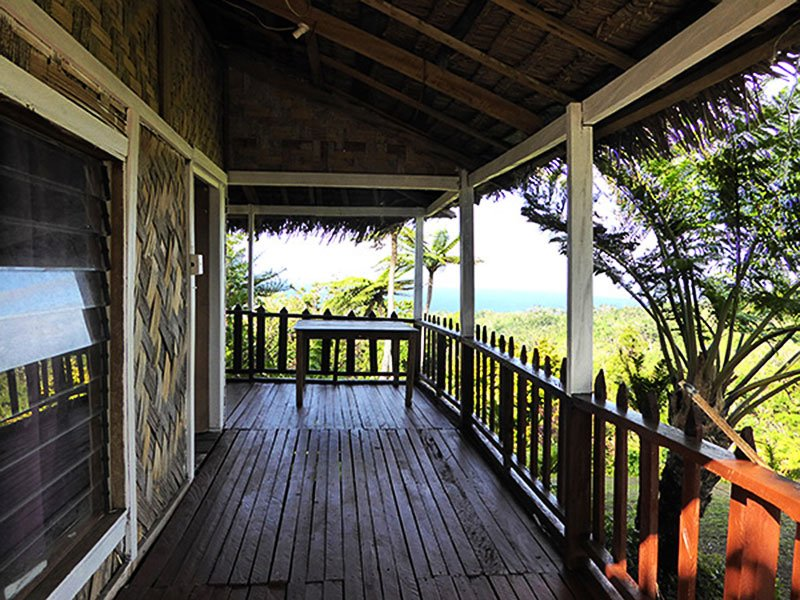 View at entrance onto Jack's Nima (Bungalow) deck showing extensive viewing of the fantastic surrounding scenery of Tanna Island, Vanuatu