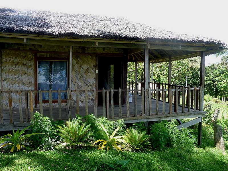 The eastern elevation of Jack's Nima (Bungalow) incorporates a full length deck and verandah with views over the eastern hills anvalleys leading down to the eastern coast of Tanna Island.