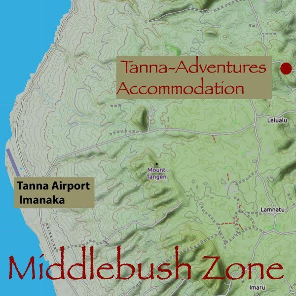 Tanna-Adventures accomodation is the only major accommodation in the Middlebush Zone