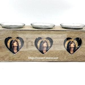Candela din lemn cu icoane si trei pahare
