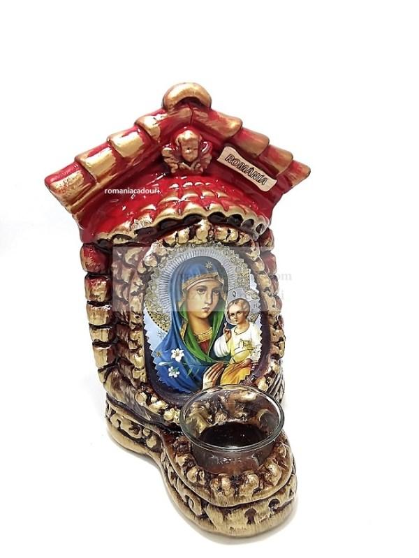 Candela ceramica mare cu Icoana Crinul Maicii Domnului