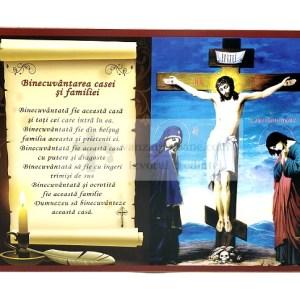 Icoana binecuvantarea casei si familiei cu Iisus pe cruce