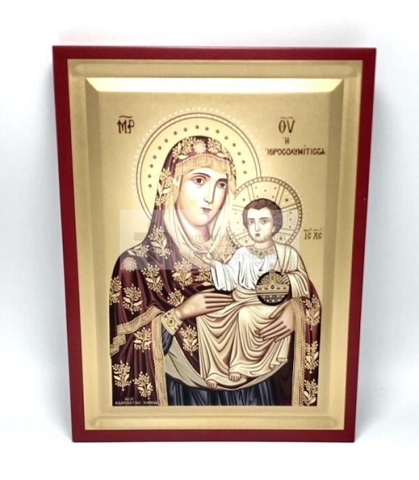 Icoana Maica Domnului Ierusalnita pictata pe lemn