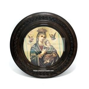 Icoana Maicii Domnului ovala din lemn