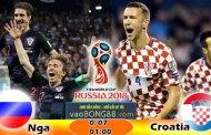 Tỷ lệ cá cược Nga vs Croatia (08-07) Nhận định World Cup