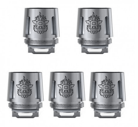 Authentic SMOKTech SMOK TFV8 Baby Tank V8 Baby-Q2 Coil Head - Silver, Stainless Steel, 0.4 Ohm (5 pack)