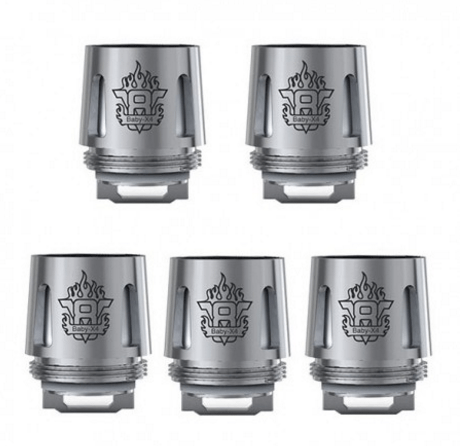 Authentic SMOKTech SMOK TFV8 Baby Tank V8 Baby-X4 Coil Head - Silver, Stainless Steel, 0.15 Ohm (5 pack)