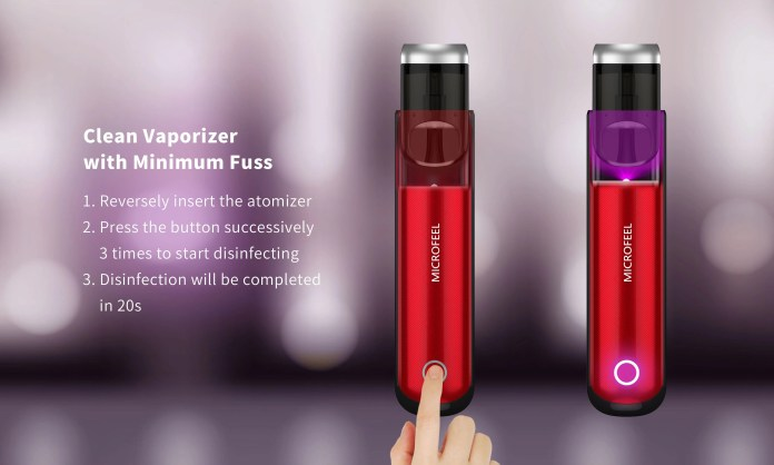 Clean Vaporizer with Minimum Fuss 1. Reversely insert the atomizer 2. Press the button successively 3 times to start disinfecting 3. Disinfection will be completed in 20s