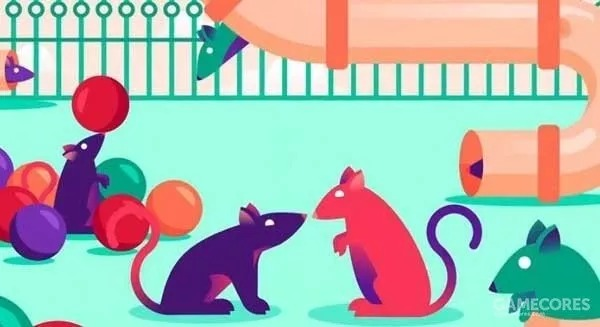 """""""mouse park"""" cage, there are plenty of cheese and other food, balls for playing,"""