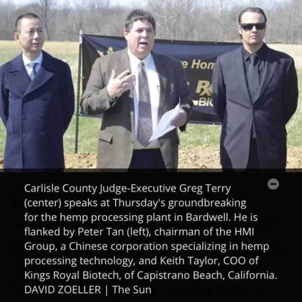 Carlisle County Judge-Executive Greg Terry (center) speaks at Thursday's groundbreaking for the hemp processing plant in Bardwell. He is flanked by Peter Tan (left), chairman of the HMI Group, a Chinese corporation specializing in hemp processing technology, and Keith Taylor, COO of Kings Royal Biotech, of Capistrano Beach, California. DAVID ZOELLER I The Sun