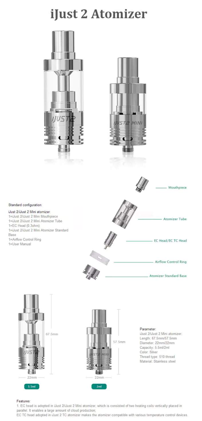 Eleaf iJust 2 Atomizer Tank specs