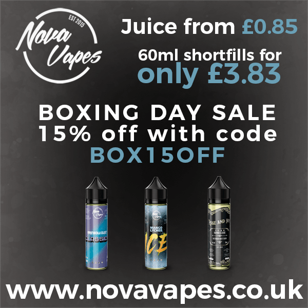 BOXING DAY NOVAVAPES SALE – 15% off everything! (As low as £3.33 per 60ml).