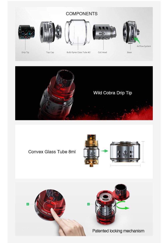 SMOK TFV12 PRINCE Cloud Beast Tank 8ml features
