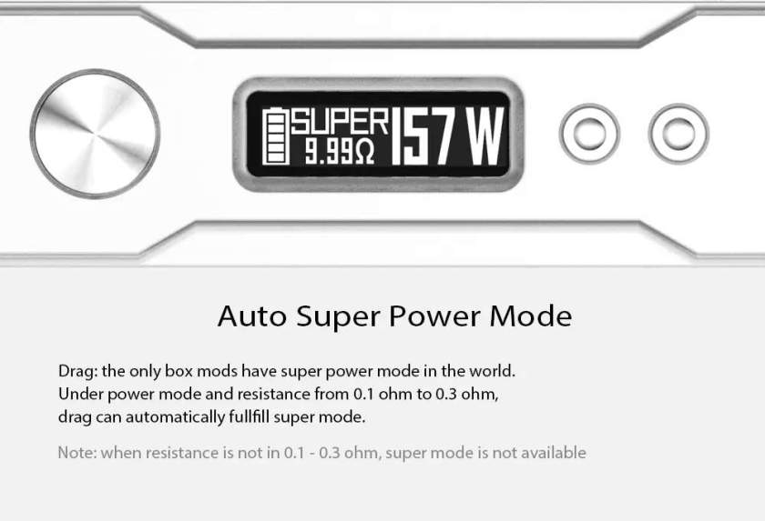 VOOPOO DRAG 157W TC Box Mod Auto super power mode