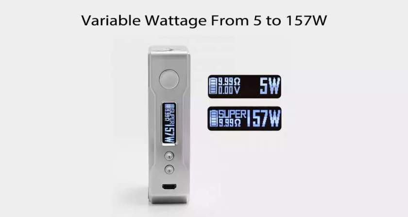 VOOPOO DRAG 157W TC Box Mod Variable Wattage from 5w to 157w