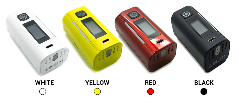 Asmodus Lustro 200W Vape Mod Colours - Black, White, Yellow and Red