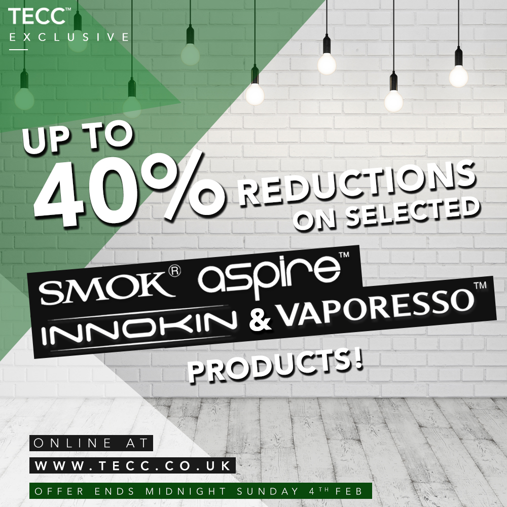 Up To 40% Off Smok, Innokin, Aspire & Vaporesso Products – From £13.79 At TECC!