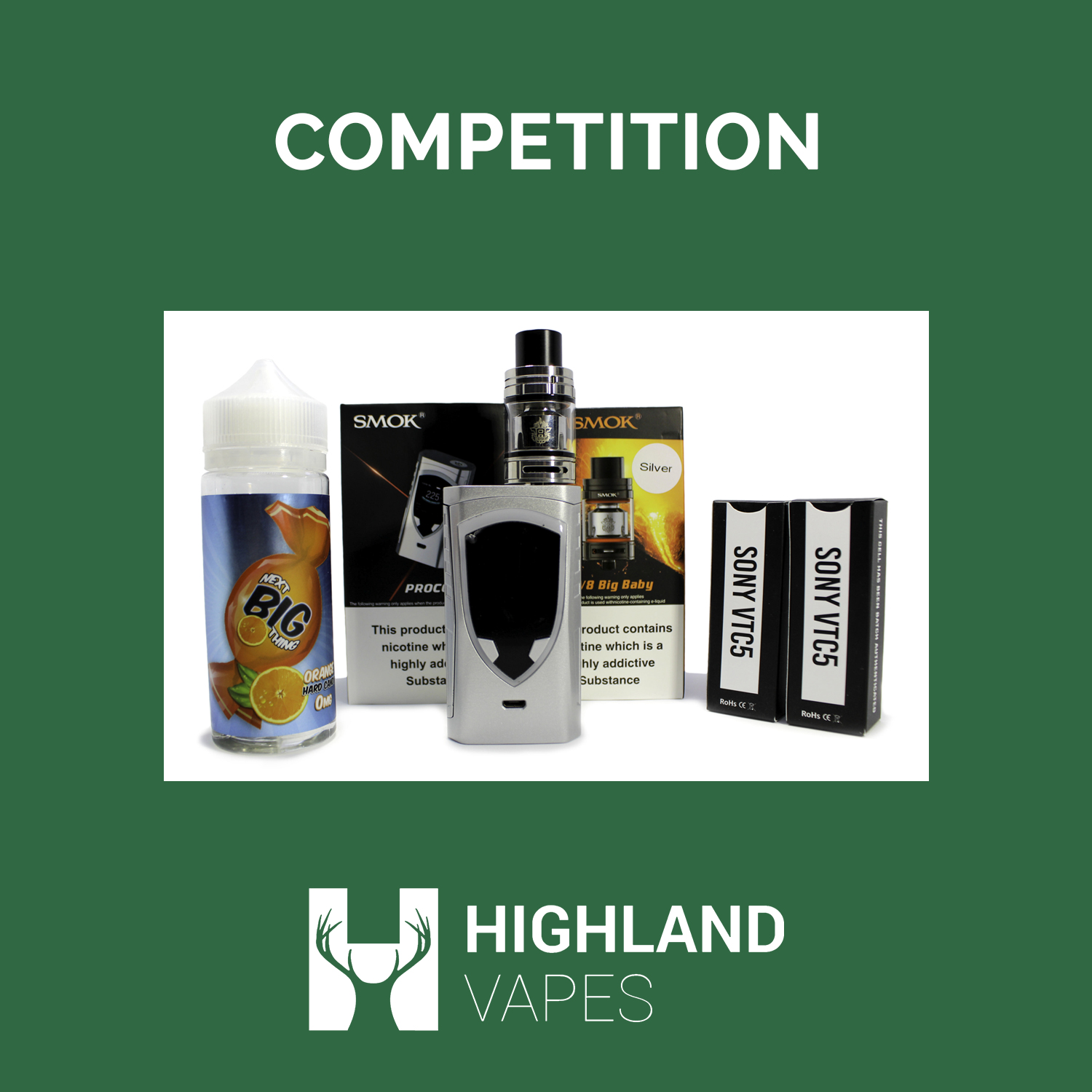 WIN: A Vaping Kit Including Mod, Tank, E-Liquid and Batteries