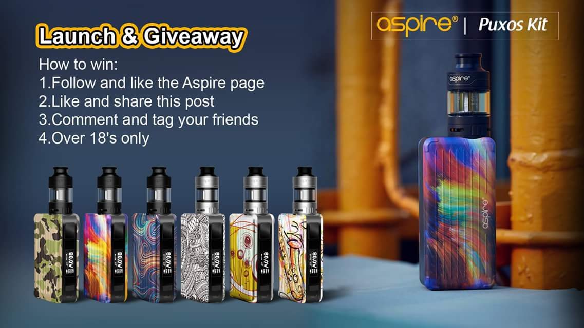 Aspire Puxos mod giveaway on Facebook