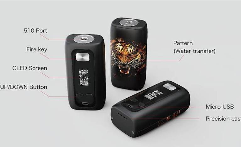Portable TC Box MOD with Attractive Patterns