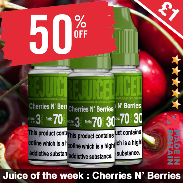 10ml Cherries n' Berries E-Liquid by REjuiced – £0.85