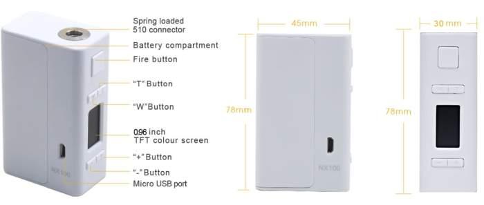 Aspire NX100 Mod Dimensions