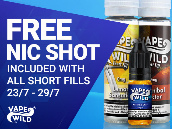 Free Nic Shots with all VapeWild Short Fills