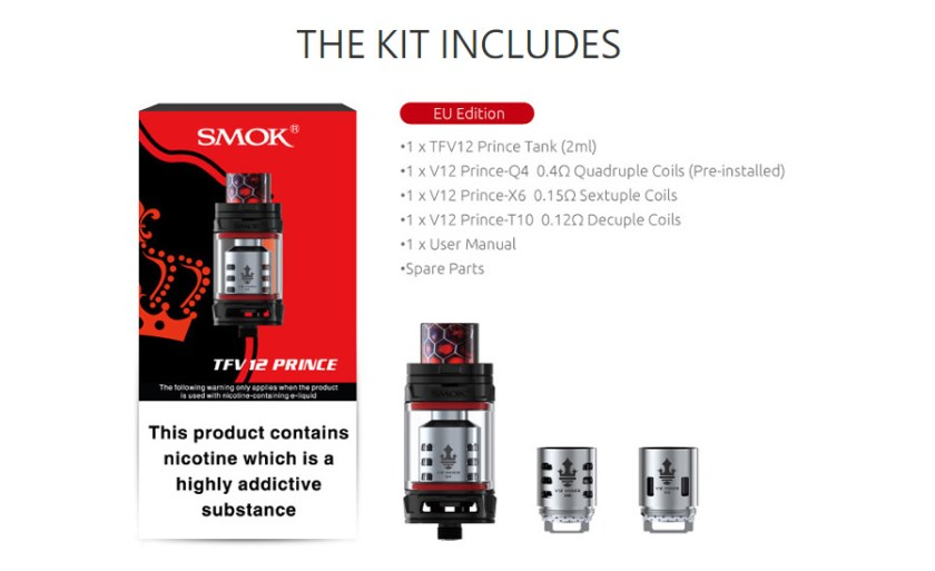 smok tfv12 prince tank package contents