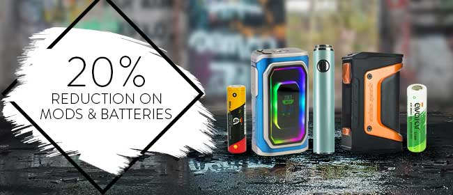20% Reduction On Mods & Batteries – From £2.39 At TECC