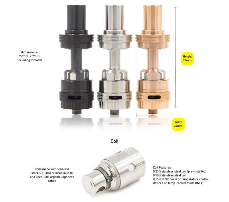 UWELL Crown Sub-Ohm Tank Specifications