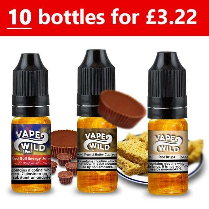 10x 10ml VapeWild E-Liquid (Pick n Mix 3 flavours) 100ml – £3.22