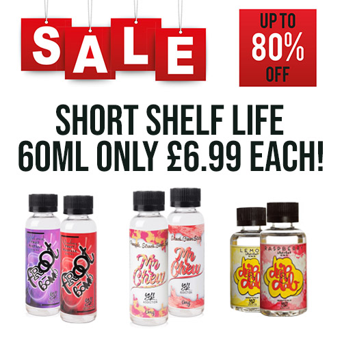 60ml Short Fills – £6.99 at TABlites