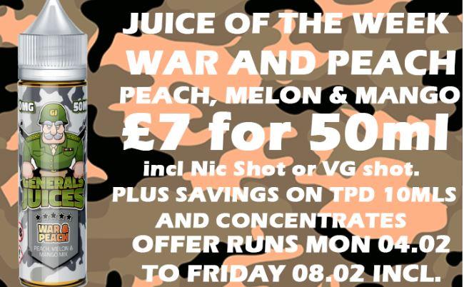 War and Peach 50ml Short Fill – £7.00