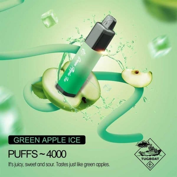 Tugboat Mega Flow 4000 Puffs Disposable Pod Kit Airflow Control (Green Apple Ice)