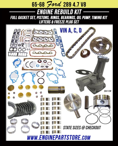 65-68 Ford 289 4.7 V8 engine rebuild kit.