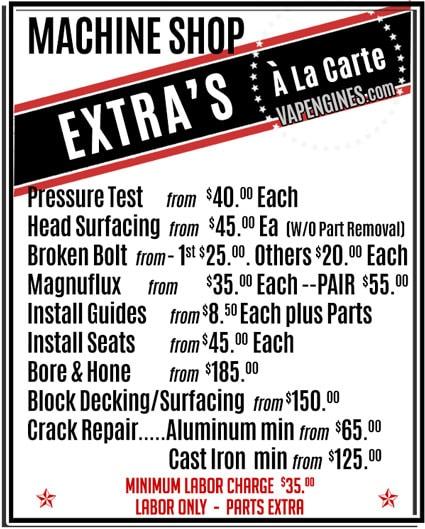Auto Machine Shop Service Pricing