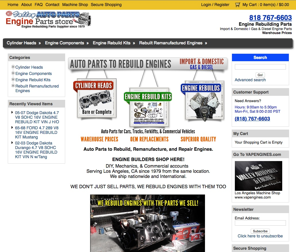 enginepartstore.com main page image