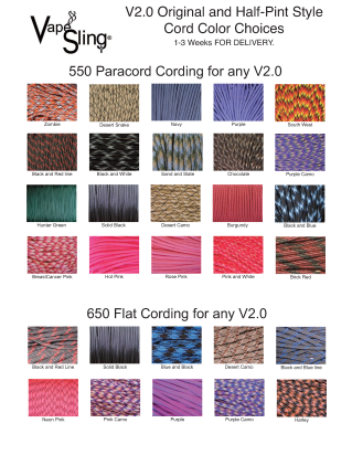 Cord Colors for VapeSling® V2.0 Original and Half-Pint Styles