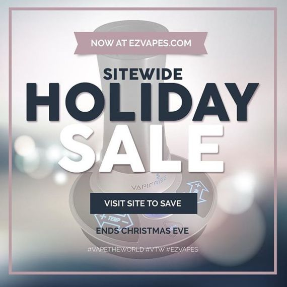 Stop by EZVapes.com for our sitewide Holiday sale - ends Christmas eve! #holiday #vape #sale