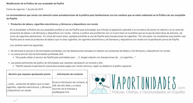 paypal prohibe cigarrillos electronicos