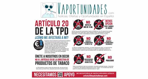 articulo 20 tpd cigarrillos electronicos vapeo regulacion normativa