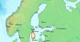 Gotland er innan rauða hringsins á kortinu.