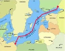 Hér sést hvernig Nord Stream leiðslan liggur á botni Eystrasalts.