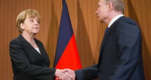 Angela Merkel og Vladimir Pútín.