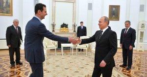 Bashar al-Assad Sýrlandsforseti og Vladimír Pútín Rússlandsforseti í Moskvu.