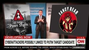 Þannig sagði CNN frá tölvuárásinni á Macron.
