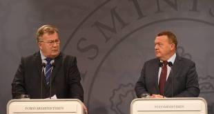 Lars Løkke Rasmussen forsætisráðherra (t.h.) og Claus Hjort Frederiksen varnarmálaráðherra