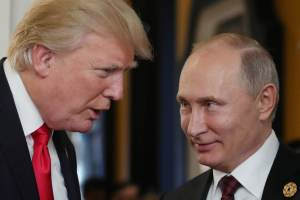 Donald Trump og Vladimir Pútín.