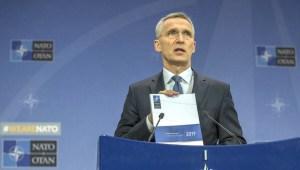Jens Stoltenberg kynnir ársskýrslu NATO.